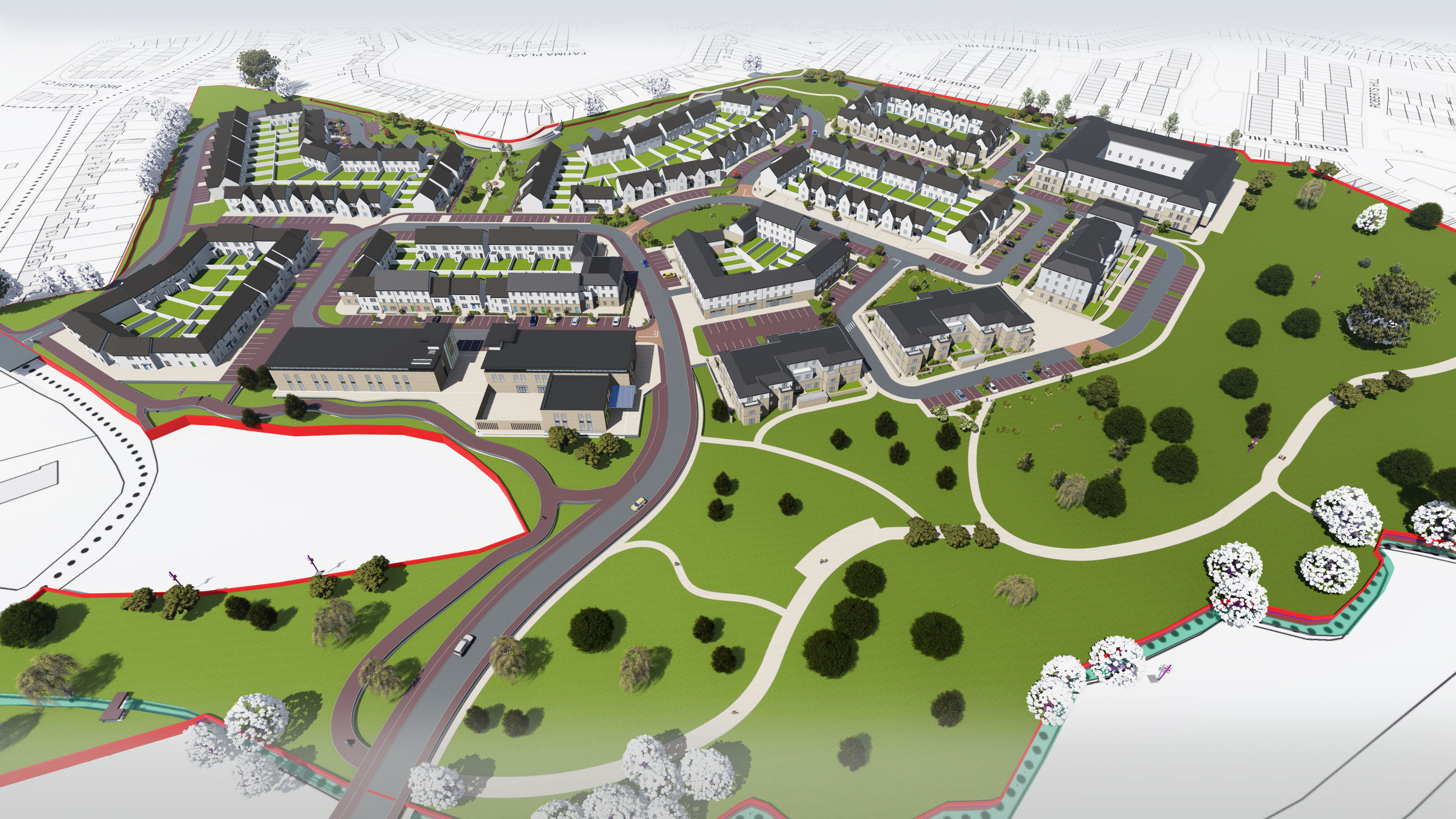 Planning success for a large mixed-use development at Daly's Hill, Kilkenny. Architecture Ireland, Urban Design, Dublin/Cork/Kerry Architecture